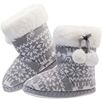 LA PLAGE Girls Winter Warm Plush Comfy Cute Cartoon Knitted Bedroom Bootie Slippers with Pom-poms(Toddler/Little Kid)