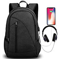 Tocode Water Resistant Laptop Backpack with USB Charging Port Headphone Port Fits up to 17-Inch Laptop Computer Backpacks Travel Daypack School Bags for Men and Women Black