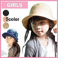 オシャレな 子供帽子日焼け UV 防止キッズ 女の子 リボン 4色 麦わら ストロー ハット