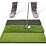 "GoSports Tri-Turf XL Golf Practice Hitting Mat   Huge 24"" x 24"" Turf Mat for Indoor Outdoor Training"