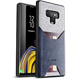 Galaxy Note 9 Credit Card Case, Poetic Nubuck [Credit Card Slot] Credit Card ID Case - Stylish Thin TPU + Premium Leather Back Case for Samsung Galaxy Note 9 Navy Blue