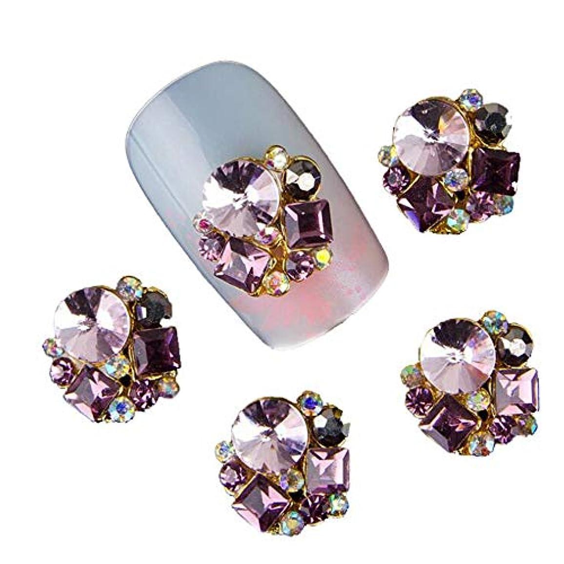 紫のストライク葉を集める10個入りグリッターパールネイルラインストーン3Dメタルアロイネイルアートデコレーションチャームスタッド釘ジュエリー