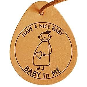 マタニティマークBABY in ME(ベイビーインミー)本革バッグチャーム卵型
