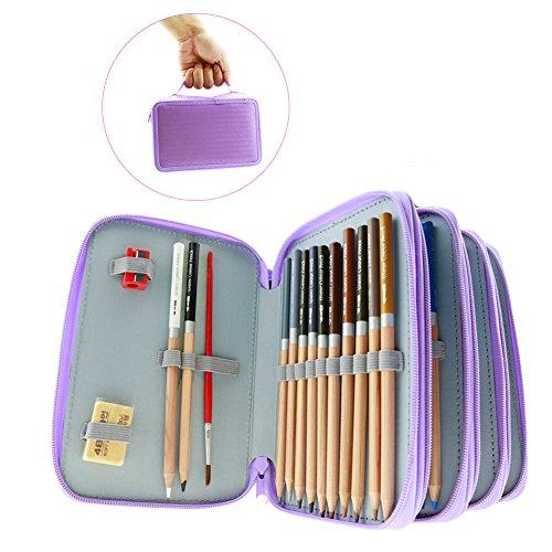 水溶性色鉛筆 カラーペン 塗り絵 バッグ付き 72色セット(紫) SSP-14
