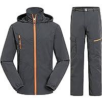 (フロラン)Froyland ウィンドブレーカー メンズ 上下セット アウトドア スポーツ ハイキング 登山 防風 撥水 トレーニングウェア セットアップ グレー L