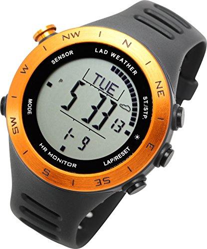 [LAD WEATHER]ハイスペック アウトドア腕時計 心拍/高度/気圧/温度/歩数/天気予測 デジタルコンパス 登山/...