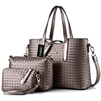 Tibes Fashion Pu Leather Handbag+Shoulder Bag+Purse 3Pcs Bag Grey