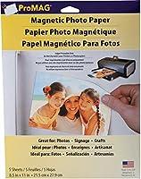 "ProMag 磁気写真用紙 8.5""X 11""シート 5 枚入り"