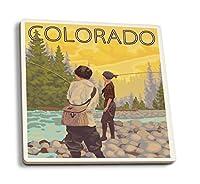 レディースFly Fishing–Colorado 4 Coaster Set LANT-16521-CT