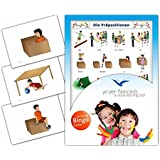 Prepositions Flashcards in German Language - Flash Cards with Matching Bingo Game for Toddlers, Kids, Children and Adults - Size 4.13 × 5.83 in - DIN A6