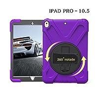 iPad pro10.5 ケース 【MAZX】 360度 回転 ハンド ホルダー スタンド ハードPCバックカバーとソフトTPU 耐衝撃 防塵 丈夫 頑丈 片手 耐久 落下防止 ケース Apple iPad pro10.5 ケース (パープル)