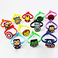 KONLOY Superhero Rubber Bracelets Wristbands for Birthday Party Supplies Favors, Novelty Toys and School Classroom Rewards(12Pack)