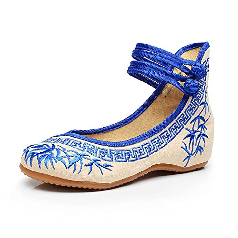 経由でバーベキューウィンク[Fanwer] 竹刺繍女性の靴中国のカジュアルなフラットソールメアリーJanes靴