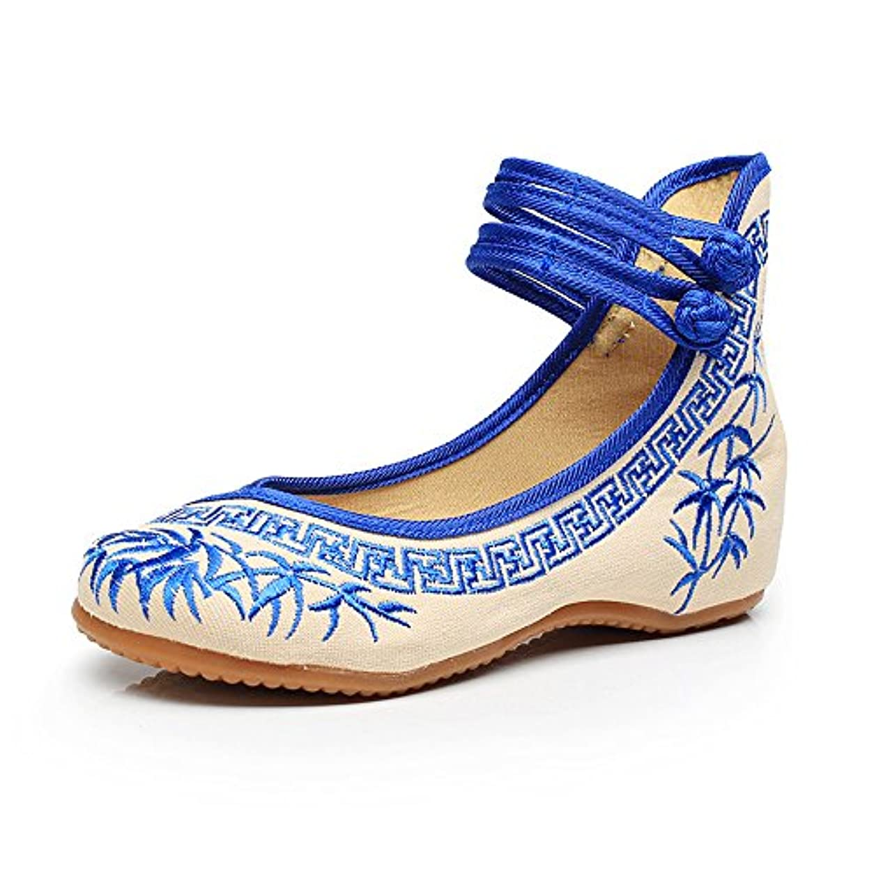 あさり雇用者沈黙[Fanwer] 竹刺繍女性の靴中国のカジュアルなフラットソールメアリーJanes靴