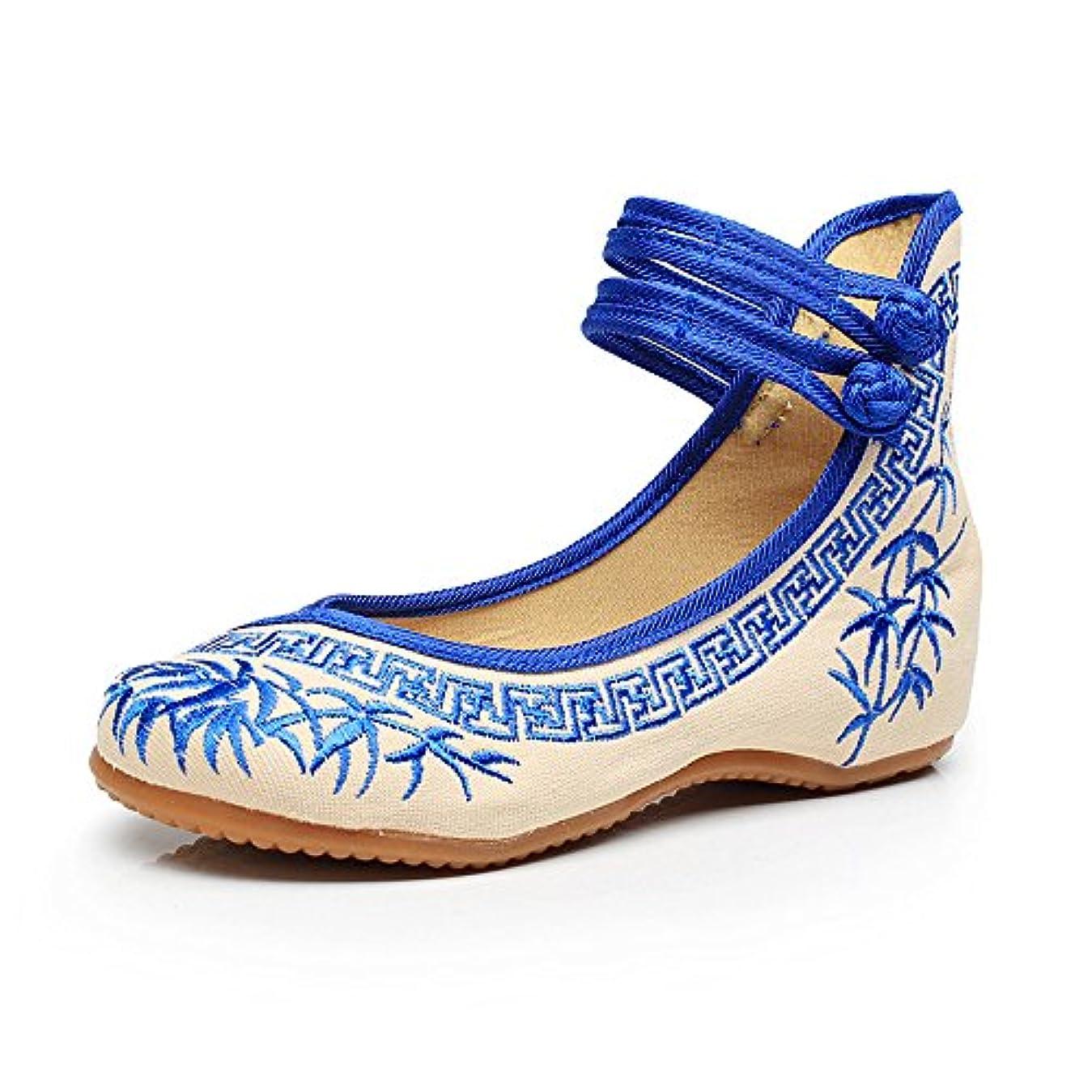 男公平な肥料[Fanwer] 竹刺繍女性の靴中国のカジュアルなフラットソールメアリーJanes靴