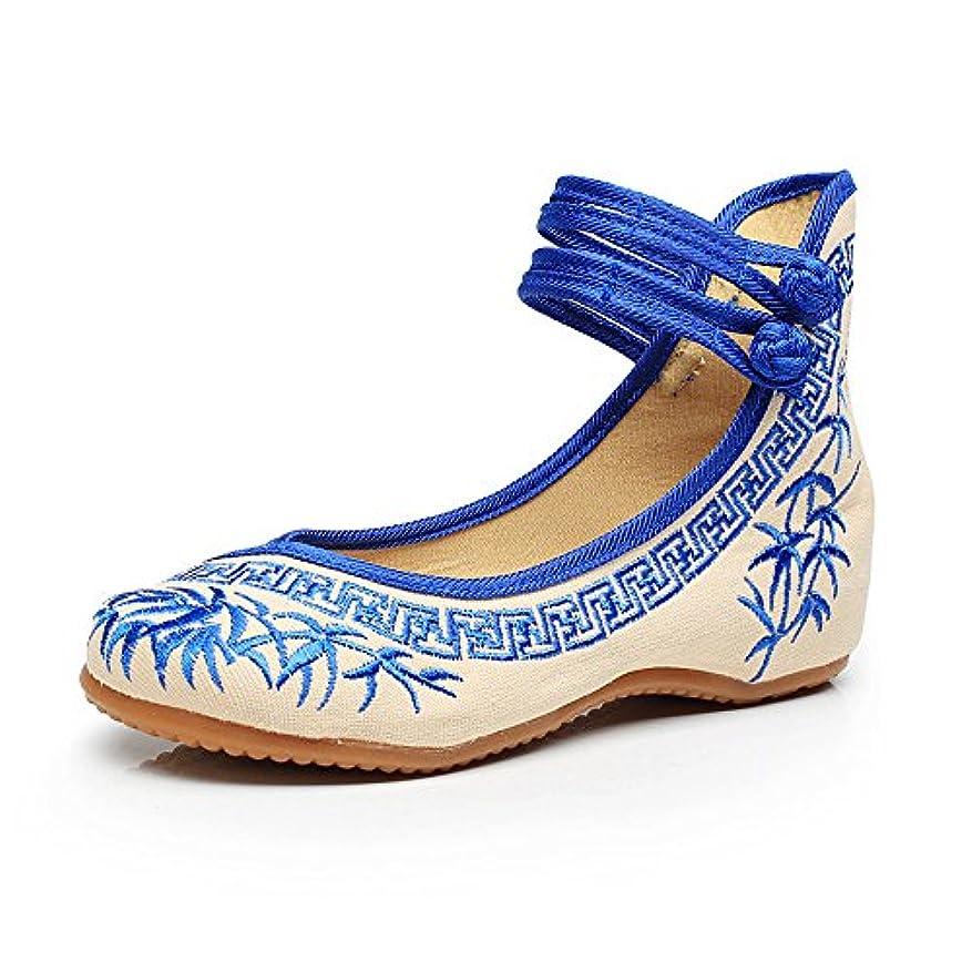 キャッシュ不完全オーブン[Fanwer] 竹刺繍女性の靴中国のカジュアルなフラットソールメアリーJanes靴