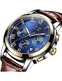 ファッションメンズ クォーツ腕時計防水レザー時計 ビジネス カジュアル革ベルトウォッチ日付表示