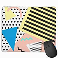 "Retro 'S Fashion Geometric Shapes Mouse Pad Non-Slip Rubber Gaming Mouse Pad Rectangle Mouse Pads for Computers Desktops Laptop 9.8"" x 11.8"""