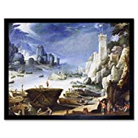 Bril Riverview Large White Rock Landscape Painting Art Print Framed Poster Wall Decor 12x16 inch 川岩風景ペインティングポスター壁デコ