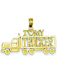 14 K Goldi Love My Trucker Truckペンダント( 14 K goldyellowゴールド、鋳造、磨き、ソリッド、テクスチャBack ) – おおよそ長:横幅:約20 mm – 30 mm