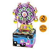 Robotime オルゴール 立体パズル 木製 レザーキット DIY クラフト 手回し 少女 誕生日プレゼント (幸せな観覧車)