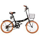 (オーエスジェー)OSJ 折りたたみ自転車 20インチ シマノ6段変速 カゴやライトやカギ付き 通勤 通学 5色 (ブラック&オレンジ)