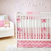 新着ジグザグベビー3ピースベビー寝具セット、ピンク
