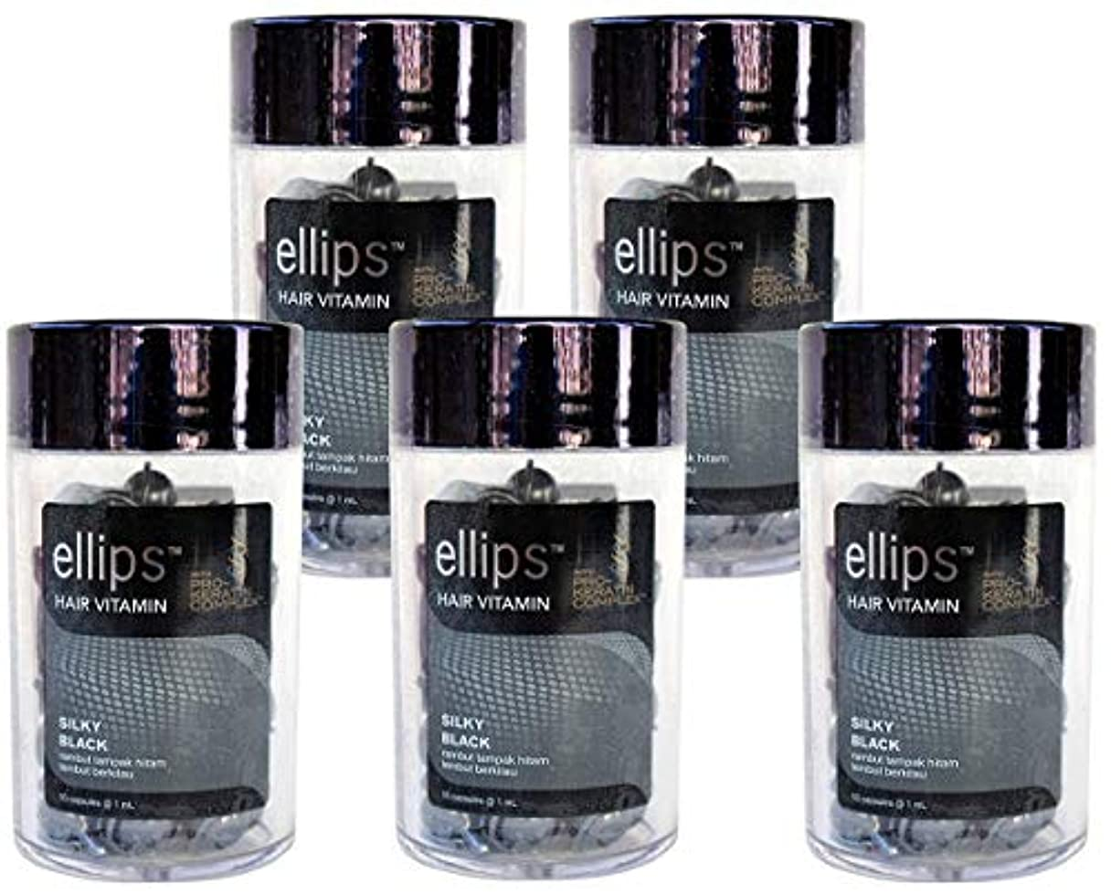 アデレード公平な冒険ellips エリプス Hair Vitamin ヘア ビタミン Pro-Keratin Complex プロケラチン配合 SILKY BLACK ブラック ボトル(50粒入) × 5本 セット [並行輸入品][海外直送品]