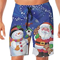 YING Christmas Snowman Santa Claus Snowflakes Men's Beach Board Shorts Swim Trunks Casual Gym Home Pants with Pocket