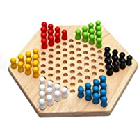 XuBa 木製チェッカー伝統的な六角形中国チェッカーファミリーゲームセット 子供たちの 早期教育