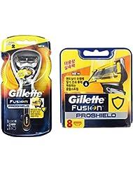 Gillette Fusion Proshield Yellow 1本の剃刀と10本の剃刀刃 [並行輸入品]