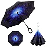 雨の日も晴れの日も♪ とっても便利な逆さ傘 逆さ傘 傘 ワンタッチ 晴雨兼用 さかさ傘 さかさかさ さかさま傘 レディース メンズ 日焼け対策 UVカット 逆向き 逆さまの傘 長傘 濡れない (K.宇宙柄)