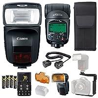 Canonスピードライト470ex-aiフラッシュ+スピードライトケース+ 4高容量充電式単三電池と充電器+フラッシュLブラケット+ TTLコード