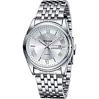 Wwoor Men Stainless Steel Quartz Watch Roman Numeral Silver