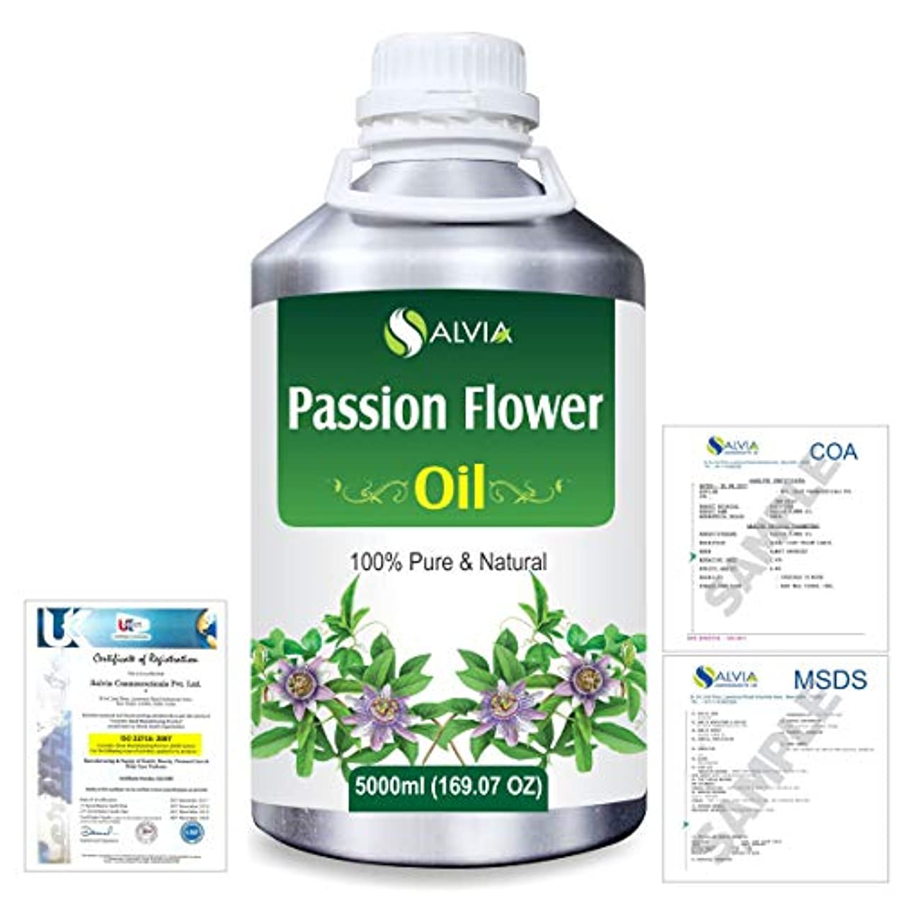 浅い試用無実Passion Flower (Passiflora) Natural Pure Undiluted Uncut Carrier Oil 5000ml/169 fl.oz.