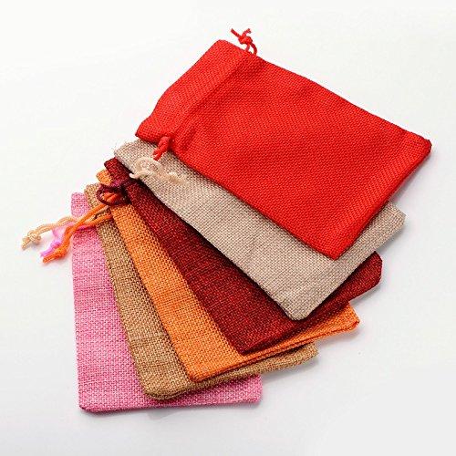 PandaHall 30枚セット ミックス 和風 コットン 麻 布 巾着袋 ラッピング袋 ギフトラッピング ジュエリーポーチ バッグ プレゼント用 収納袋 カラー 13.5x9.5cm