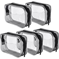 (Small, Transparent) - Pangda 5 Pack Clear PVC Zippered Toiletry Carry Pouch Portable Cosmetic Makeup Bag for Vacation, Bathroom and Organising (Small, Transparent)