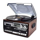 WINTECH マルチオーディオプレーヤー ブラウン レコード・カセット・AM・FM・CD・SD・USB・AUX KRP-308MS