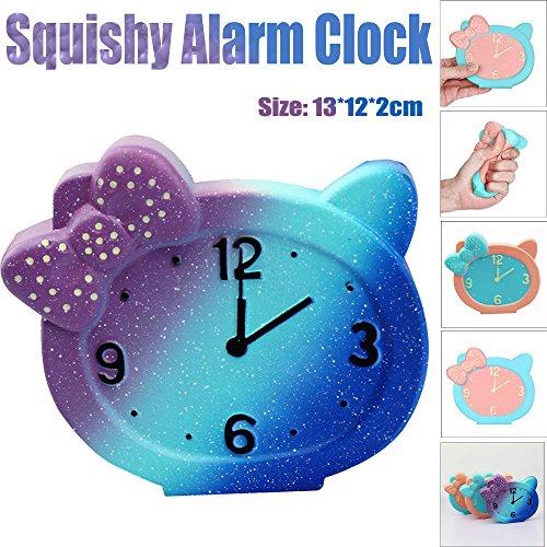笑え熊,スクイーズ 目覚まし時計 猫柄 かわいい 低反発 知...