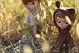 バーバリー ダウン (ドーリア)Dollia ブライス 1/6ドール用 アウトフィット 着ぐるみ風 フード付きポンチョ ポンチョコート アウター マント ネオブライス ドール 人形 (ブラウン)