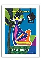 カリフォルニア州 - エアフランス - ビンテージな航空会社のポスター によって作成された ガイ・ジョルジェ c.1963 -プレミアム290gsmジークレーアートプリント - 46cm x 61cm