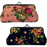 "Oyachic 2 Packs Coin Purse Cell Phone Pouch Rose Pattern Clasp Closure Wallet 7.1""L X 3.5"" H"