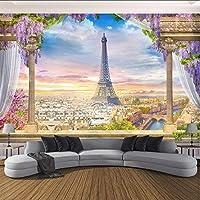 Xbwy カスタム写真の壁紙3Dステレオローマ列パリタワー壁画レストランリビングルームの寝室の背景壁の装飾3 D-150X120Cm
