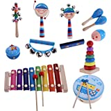 MagiDeal 1 Set Orff Percussion Musical Instruments Handbell Tambourine Kit Kids Preschool Kindergarten Music Learning Toys 12Pcs