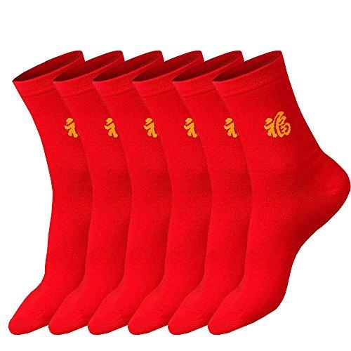 丈夫な靴下 コットンソックス 赤いソックス 5足セット メンズ カジュアルソックス ビジネスソックス 男性靴下ビレッドパワー 開運 ソックス24~32cm (5)