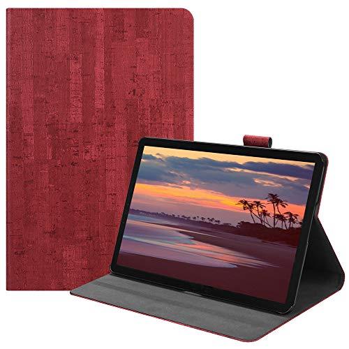 Happon の Samsung Galaxy Tab S4 10.5 inch T835 純正 レザー 財布 シェル カバー, フリップ 立つ, カード スロット, スタイリッシュ, Red