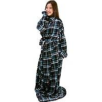 アイリスプラザ 着る毛布 保温 洗える 静電気防止 とろける肌触り fondan ブラック×ブルー Lサイズ 着丈170cm FDRM-080