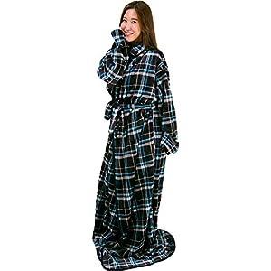 アイリスプラザ 着る毛布 fondan ルームウェア フランネルマイクロファイバー とろけるような肌触り 静電気防止 洗える Lサイズ 170cm丈 ブラック×ブルー