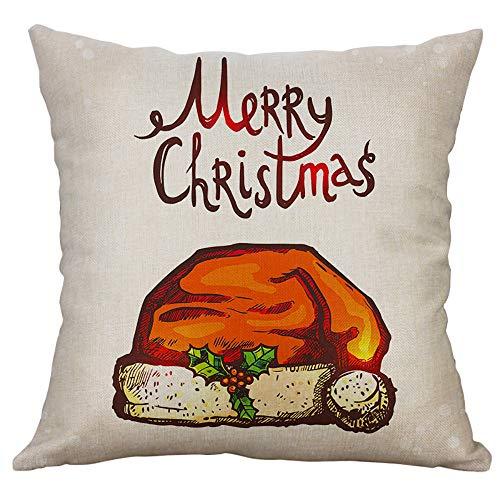 Qisc メリークリスマス 刺繍 スローピローケース クッシ...