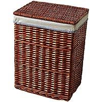 ランドリーバスケットラタン蓋汚れたハンパー綿の三角のライニングの服雑貨のストレージバスケット (サイズ さいず : 37 * 27 * 47cm)